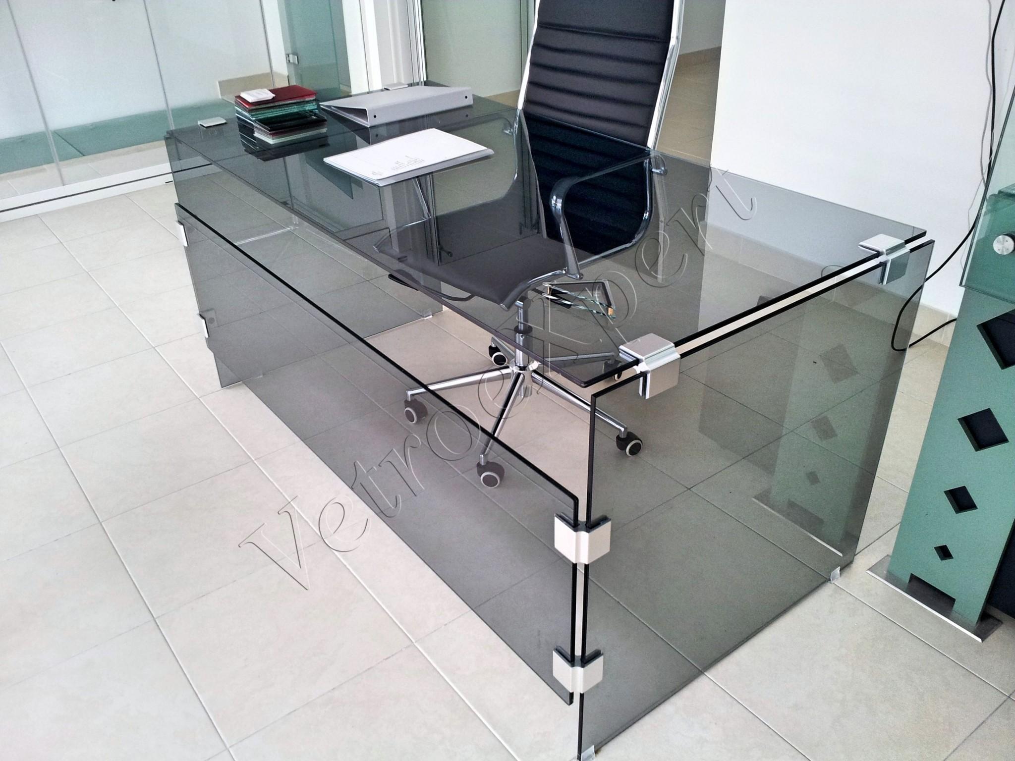 Arredo in cristallo vetroexpert roma - Scrivania cristallo ufficio ...