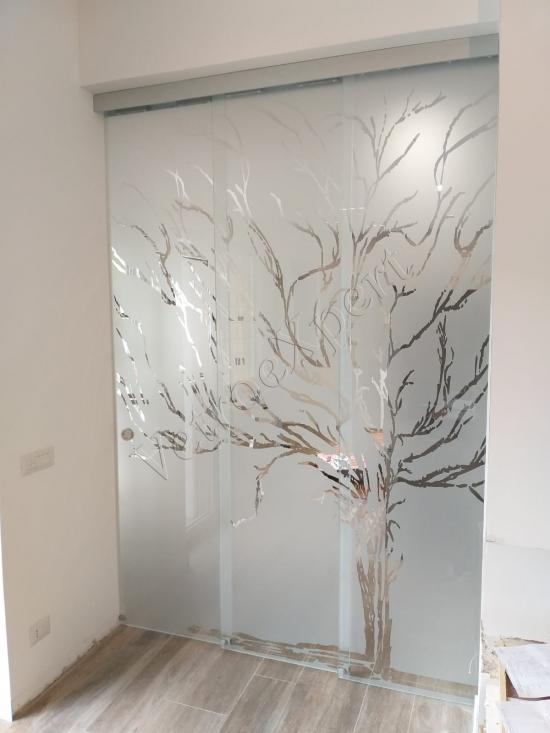 Parete divisoria in Vetro decorato Roma - VetroeXpert