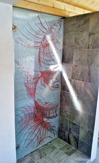 Cabina doccia in vetro con decorazione - Roma - VetroeXpert - Box doccia in cristallo temperato su misura