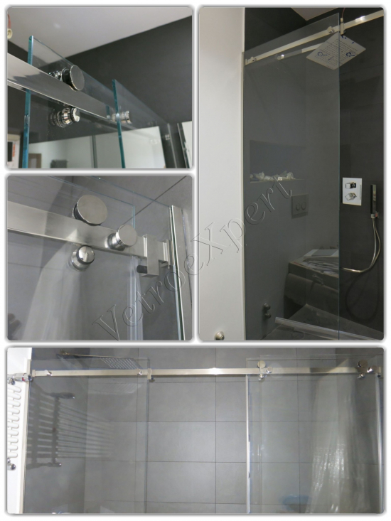 Collage Barre di scorrimento Box doccia - Roma - VetroeXpert - Box doccia in cristallo temperato su misura