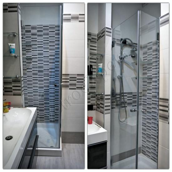 Collage Box doccia con chiusura a battente - Roma - VetroeXpert - Box doccia in cristallo temperato su misura