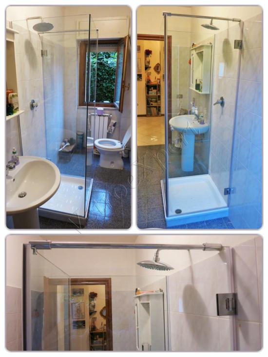 Collage Box doccia con soffione in vetro temperato su misura - Roma - VetroeXpert - Box doccia in cristallo temperato su misura