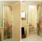 Collage Porta a battente chiusa e aperta decorata in cristallo temperato - Roma - VetroeXpert - Porte in vetro su misura e Pareti divisorie