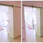 Collage Porta scorrevole in vetro con carrucola e maniglione chiusa e aperta - Roma - VetroeXpert - Porte in vetro su misura e Pareti divisorie