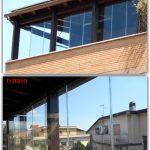 Collage Prima e Dopo Vetrate a scomparsa Glassroom - Roma - VetroeXpert - Vetrate Pieghevoli e vetrate a scomparsa Glassroom