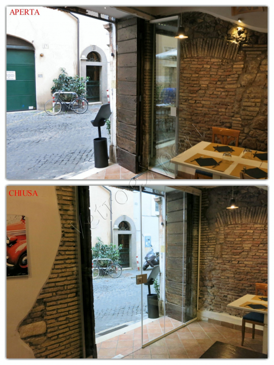 Collage Vetrata pieghevole vista interna aperta e chiusa - Roma - VetroeXpert - Vetrate Pieghevoli e vetrate a scomparsa Glassroom