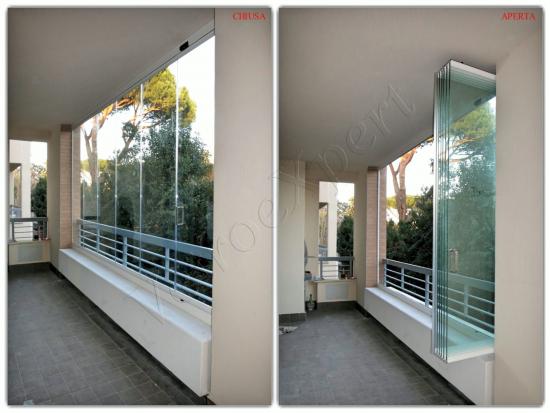 Collage aperta e chiusa Vetrata Glassroom - Roma - VetroeXpert - Vetrate Pieghevoli e vetrate a scomparsa Glassroom