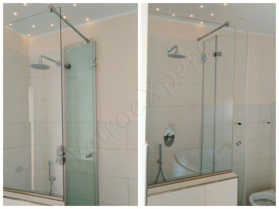 Collage composizione Box doccia con vetro temperato porta battente aperta e chiusa - Roma - VetroeXpert - Box doccia in cristallo temperato su misura