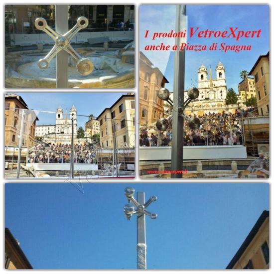 Collage facciate puntiformi a Piazza di Spagna - Roma - VetroeXpert - Vetrate continue a Facciata puntiforme
