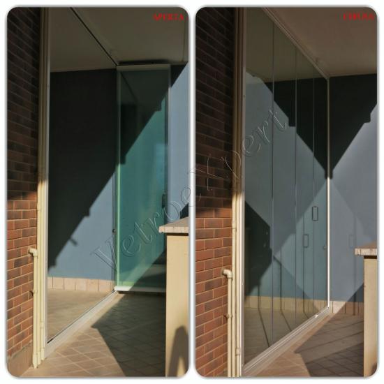 Collage vista esterna balcone Vetrata pieghevole - Roma - VetroeXpert - Vetrate Pieghevoli e vetrate a scomparsa Glassroom
