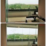 Collage vista interna Vetrata pieghevole aperta e chiusa - Roma - VetroeXpert - Vetrate Pieghevoli e vetrate a scomparsa Glassroom