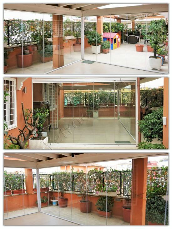 Collage vista interna ed esterna Vetrata pieghevole - Roma - VetroeXpert - Vetrate Pieghevoli e vetrate a scomparsa Glassroom