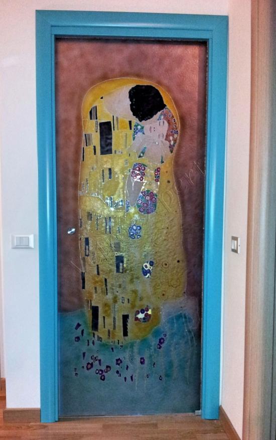 Decorazioni colorate su porta in vetro - Roma - VetroeXpert - Decorazioni e Serigrafie