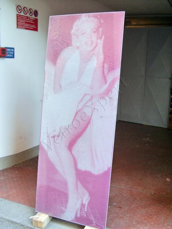 Decoro su vetro Marilyn Monroe - Roma - VetroeXpert - Decorazioni e Serigrafie