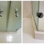 Dettaglio cerniere e pomoli lucidi Box doccia temperato - Roma - VetroeXpert - Box doccia in cristallo temperato su misura