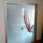 Doppia Porta chiusa temperata satinata - Roma - VetroeXpert - Porte in vetro su misura e Pareti divisorie