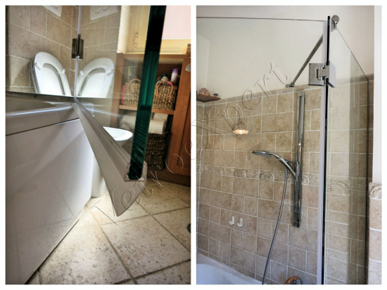 Parete doccia fissa dettaglio anta battente su misura - Roma - VetroeXpert - Box doccia in cristallo temperato su misura