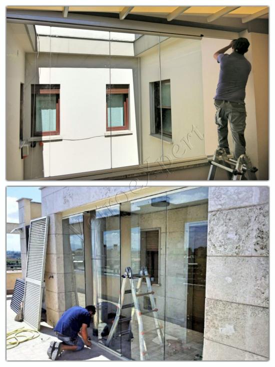 Particolare Montaggio speciale vetrata - Roma - VetroeXpert - Vetri speciali e Montaggi
