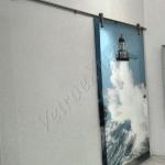 Porta a scorrimento temperata con decoro - Roma - VetroeXpert - Porte in vetro su misura e Pareti divisorie