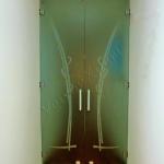 Porta in vetro satinato decorato - Roma - VetroeXpert - Porte in vetro su misura e Pareti divisorie