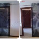 Porta scorrevole con decoro - Roma - VetroeXpert - Porte in vetro su misura e Pareti divisorie