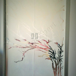 Porta temperata su misura con tacche e decorazioni a mano - Roma - VetroeXpert - Porte in vetro su misura e Pareti divisorie