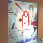 Porte Scorrevoli Per Scrigno In Cristallo Decorato Con Immagine Kandinskij Porte In Vetro E Pareti Divisorie