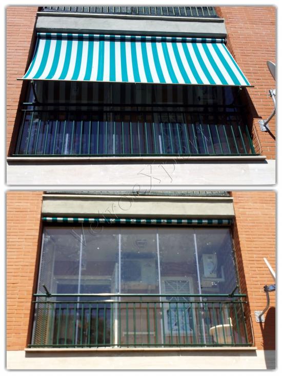 Veranda in vetro per balcone con tenda - Roma - VetroeXpert - Vetrate Pieghevoli e vetrate a scomparsa Glassroom