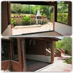 Vetrata pieghevole aperta uscita patio - Roma - VetroeXpert - Vetrate Pieghevoli e vetrate a scomparsa Glassroom