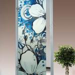 Porta a battente in vetro satinato con decoro-BB - Roma - VetroeXpert - Porte in vetro su misura e Pareti divisorie