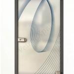 Porta a battente in vetro satinato con decoro-BE - Roma - VetroeXpert - Porte in vetro su misura e Pareti divisorie