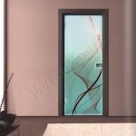 Porta a battente in vetro satinato con decoro-BG - Roma - VetroeXpert - Porte in vetro su misura e Pareti divisorie
