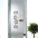 Porta a battente in vetro satinato con decoro-CC - Roma - VetroeXpert - Porte in vetro su misura e Pareti divisorie