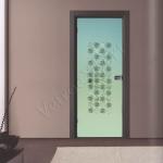 Porta a battente in vetro satinato con decoro-CM - Roma - VetroeXpert - Porte in vetro su misura e Pareti divisorie