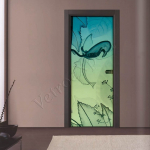 Porta a battente in vetro satinato con decoro-CT - Roma - VetroeXpert - Porte in vetro su misura e Pareti divisorie