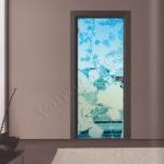 Porta a battente in vetro satinato con decoro-CV - Roma - VetroeXpert - Porte in vetro su misura e Pareti divisorie