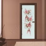 Porta a battente in vetro satinato con decoro-DL - Roma - VetroeXpert - Porte in vetro su misura e Pareti divisorie