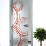 Porta a battente in vetro satinato con decoro-DO - Roma - VetroeXpert - Porte in vetro su misura e Pareti divisorie