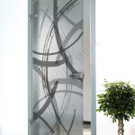 Porta a battente in vetro satinato con decoro-DQ - Roma - VetroeXpert - Porte in vetro su misura e Pareti divisorie