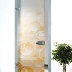 Porta a battente in vetro satinato con decoro-DT-ARANCIO - Roma - VetroeXpert - Porte in vetro su misura e Pareti divisorie