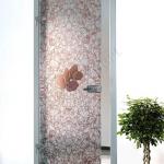 Porta a battente in vetro satinato con decoro_EQ - Roma - VetroeXpert - Porte in vetro su misura e Pareti divisorie