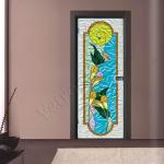 Porta a battente in vetro satinato con decoro_GO - Roma - VetroeXpert - Porte in vetro su misura e Pareti divisorie