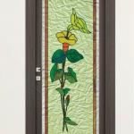 Porta a battente in vetro satinato con decoro_GP - Roma - VetroeXpert - Porte in vetro su misura e Pareti divisorie