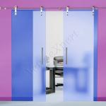 Porta in vetro a doppia anta-blu-trasparente - Roma - VetroeXpert - Porte in vetro su misura e Pareti divisorie