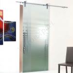 Porta scorrevole ad un anta in vetro satinato con decoro-AO - Roma - VetroeXpert - Porte in vetro su misura e Pareti divisorie