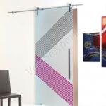 Porta scorrevole ad un anta in vetro satinato con decoro-AU - Roma - VetroeXpert - Porte in vetro su misura e Pareti divisorie
