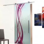 Porta scorrevole ad un anta in vetro satinato con decoro-BD - Roma - VetroeXpert - Porte in vetro su misura e Pareti divisorie