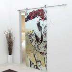 Porta scorrevole ad un anta in vetro satinato con decoro-BP - Roma - VetroeXpert - Porte in vetro su misura e Pareti divisorie