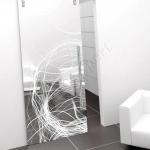 Porta scorrevole ad un anta in vetro satinato con decoro-BU - Roma - VetroeXpert - Porte in vetro su misura e Pareti divisorie