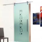 Porta scorrevole ad un anta in vetro satinato con decoro-CD - Roma - VetroeXpert - Porte in vetro su misura e Pareti divisorie